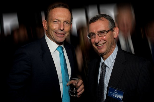 Managing Director and President of the Master Builders Association of Victoria Greg Zuccala discussing the state of the building industry with Prime Minister Tony Abbott.